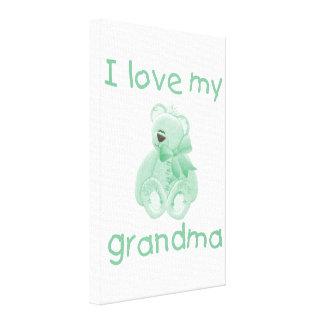I Love My Grandma green bear Canvas Prints
