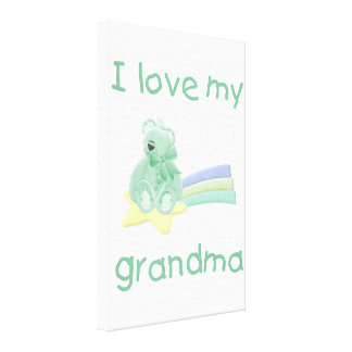 I Love My Grandma green bear w star Canvas Prints