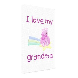I Love My Grandma pink bear w star Stretched Canvas Print
