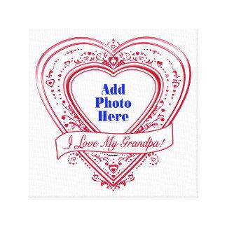 I Love My Grandpa! Photo Red Hearts Canvas Print
