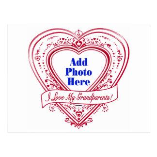 I Love My Grandparents! Photo Red Hearts Postcard