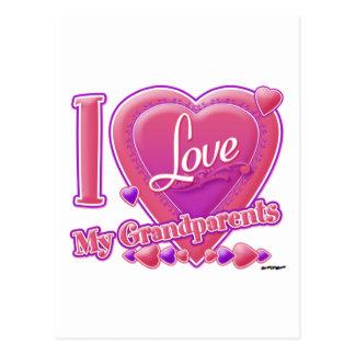 I Love My Grandparents pink/purple - heart Postcard