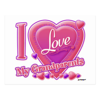 I Love My Grandparents pink/purple - heart Post Card