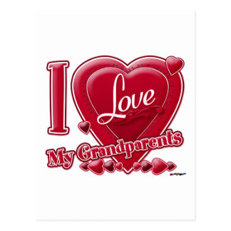 I Love My Grandparents red heart - photo Postcard