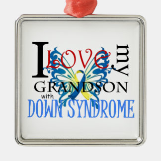 I Love My Grandson with Down Syndrome Silver-Colored Square Decoration