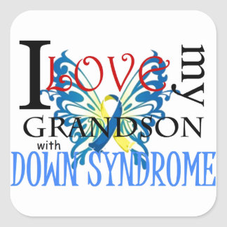 I Love My Grandson with Down Syndrome Square Sticker