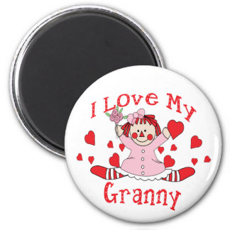 I love My Granny Rag Doll & Hearts 6 Cm Round Magnet