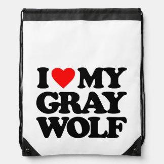 I LOVE MY GRAY WOLF CINCH BAG