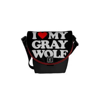 I LOVE MY GRAY WOLF MESSENGER BAG