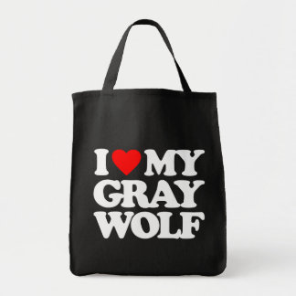 I LOVE MY GRAY WOLF TOTE BAGS