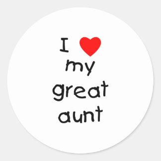 I Love My Great Aunt Round Sticker