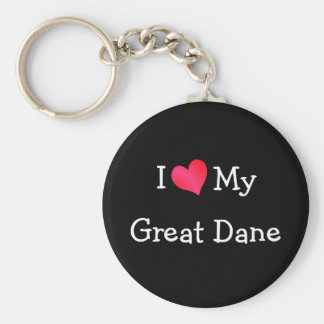 I Love My Great Dane Basic Round Button Key Ring