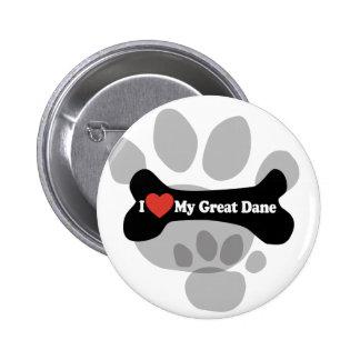 I Love My Great Dane  - Dog Bone 6 Cm Round Badge