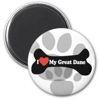 I Love My Great Dane  - Dog Bone 6 Cm Round Magnet