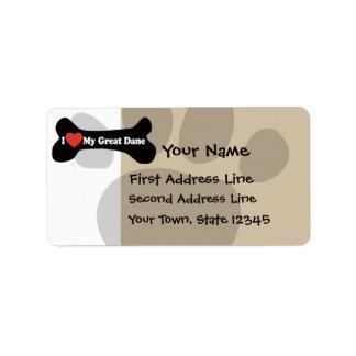 I Love My Great Dane  - Dog Bone Address Label