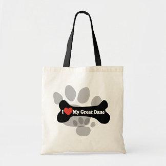 I Love My Great Dane  - Dog Bone Tote Bag
