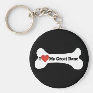 I Love My Great Dane  - Dog Bone Basic Round Button Key Ring