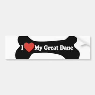 I Love My Great Dane  - Dog Bone Bumper Sticker