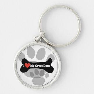 I Love My Great Dane  - Dog Bone Silver-Colored Round Key Ring