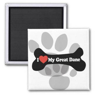 I Love My Great Dane  - Dog Bone Square Magnet
