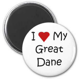 I Love My Great Dane Dog Breed Lover Gifts 6 Cm Round Magnet