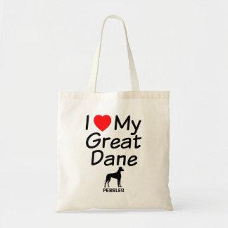 I Love My  Great Dane Dog Tote Bag