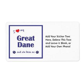 I Love My Great Dane (Female Dog) Shipping Label