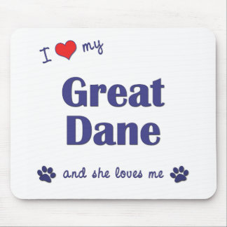 I Love My Great Dane Female Dog Mouse Pads