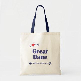 I Love My Great Dane (Female Dog) Budget Tote Bag