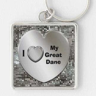 I Love My Great Dane Heart Keychain