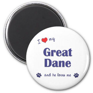 I Love My Great Dane (Male Dog) 6 Cm Round Magnet