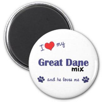 I Love My Great Dane Mix (Male Dog) 6 Cm Round Magnet