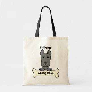 I Love My Great Dane Tote Bags