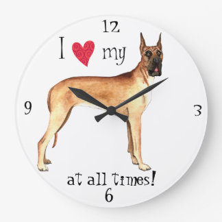 I Love my Great Dane Wall Clocks