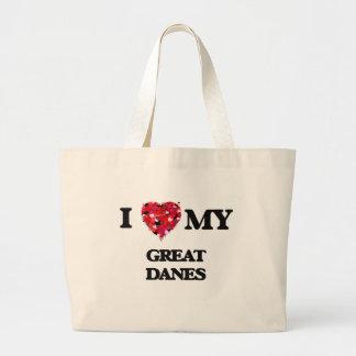 I love my Great Danes Jumbo Tote Bag