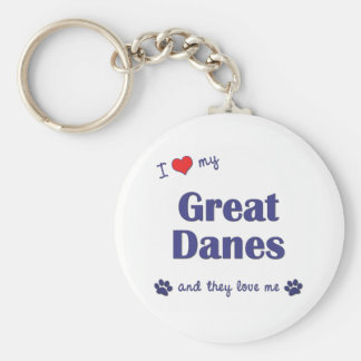 I Love My Great Danes (Multiple Dogs) Basic Round Button Key Ring
