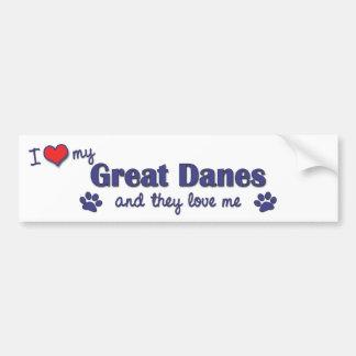 I Love My Great Danes (Multiple Dogs) Bumper Sticker