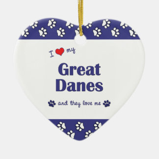 I Love My Great Danes (Multiple Dogs) Double-Sided Heart Ceramic Christmas Ornament