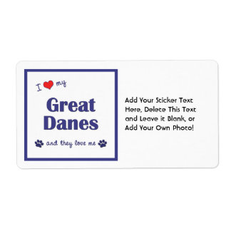 I Love My Great Danes (Multiple Dogs) Shipping Label