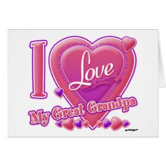 I Love My Great Grandpa pink/purple - heart Card