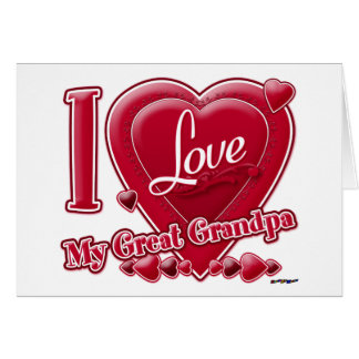 I Love My Great Grandpa red - heart Greeting Card