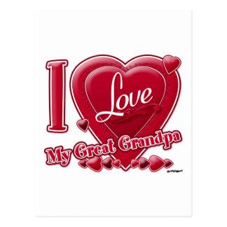 I Love My Great Grandpa red - heart Postcard