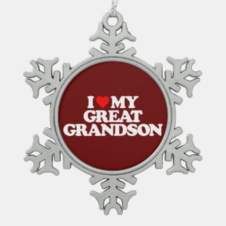 I LOVE MY GREAT GRANDSON SNOWFLAKE PEWTER CHRISTMAS ORNAMENT