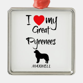 I Love My Great Pyrenees Dog Silver-Colored Square Decoration