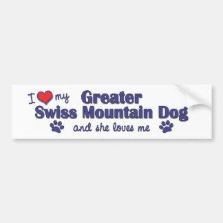 I Love My Greater Swiss Mountain Dog Female Dog Bumper Stickers