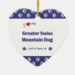 I Love My Greater Swiss Mountain Dog (Male Dog) Christmas Tree Ornament