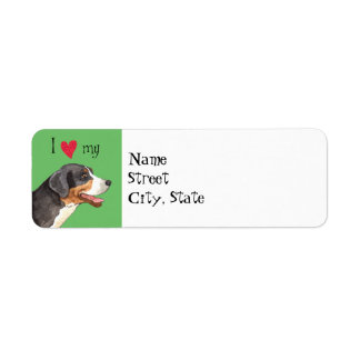 I Love my Greater Swiss Mountain Dog Return Address Label