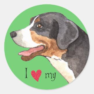 I Love my Greater Swiss Mountain Dog Round Sticker