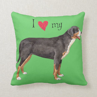 I Love my Greater Swiss Mountain Dog Throw Pillow
