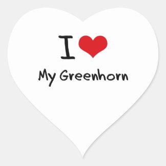 I Love My Greenhorn Heart Stickers